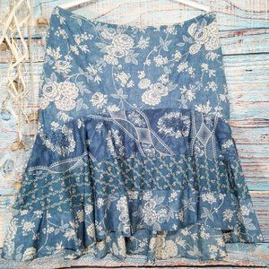 LRL Ralph Lauren 3 Tier Floral Chambray Skirt